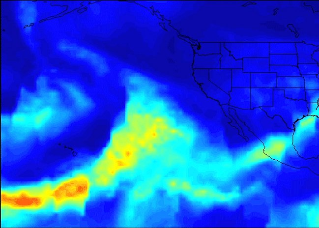 A series of atmospheric rivers that brought drought-relieving rains, heavy snowfall and flooding to California this week is highlighted in this movie frame created with satellite data from the AIRS instrument on NASA's Aqua satellite.