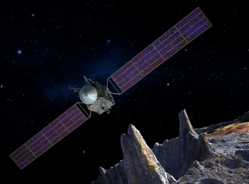 Artist's concept of the Psyche spacecraft, which will conduct a direct exploration of an asteroid thought to be a stripped planetary core.