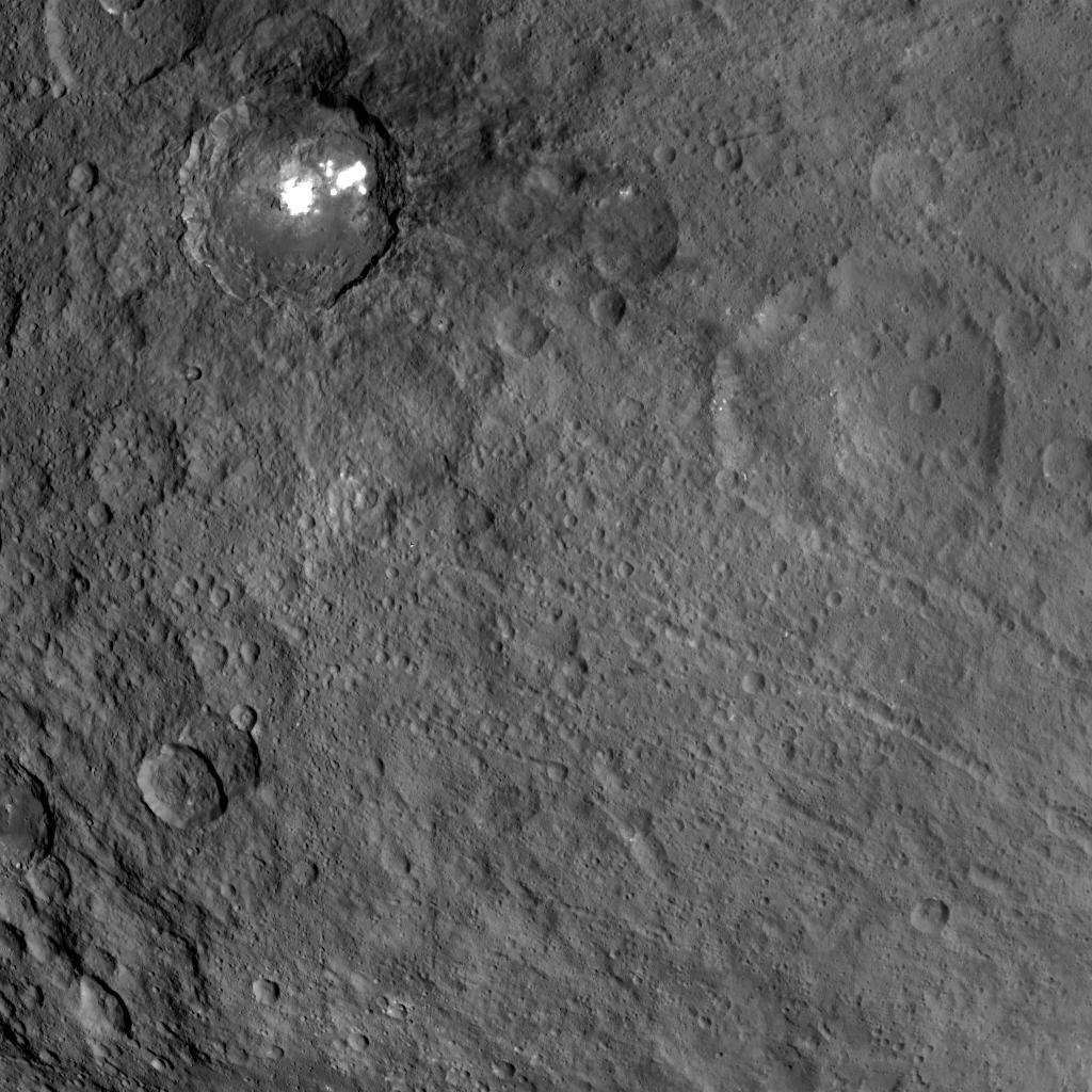 This view obtained by NASA's Dawn spacecraft during its Survey orbit illustrates the diversity and complexity of Ceres' geology.
