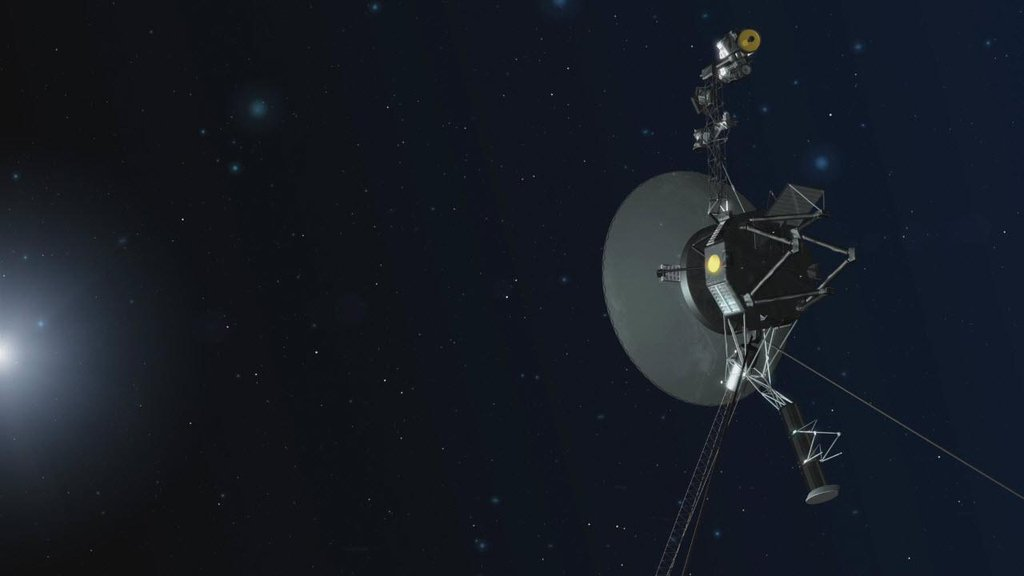 This artist concept shows NASA's twin Voyager spacecraft, celebrating 40 years of continual operation in August and September 2017.