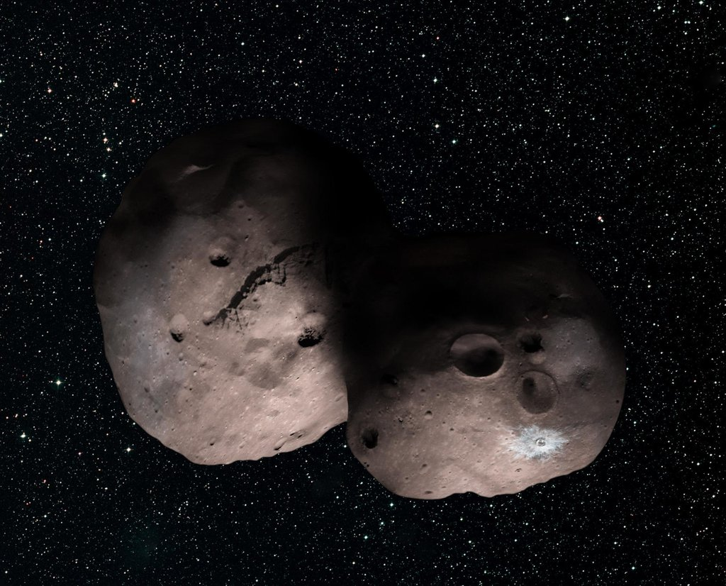 This is one artist's concept of Kuiper Belt object 2014 MU69, the next flyby target for NASA's New Horizons mission.