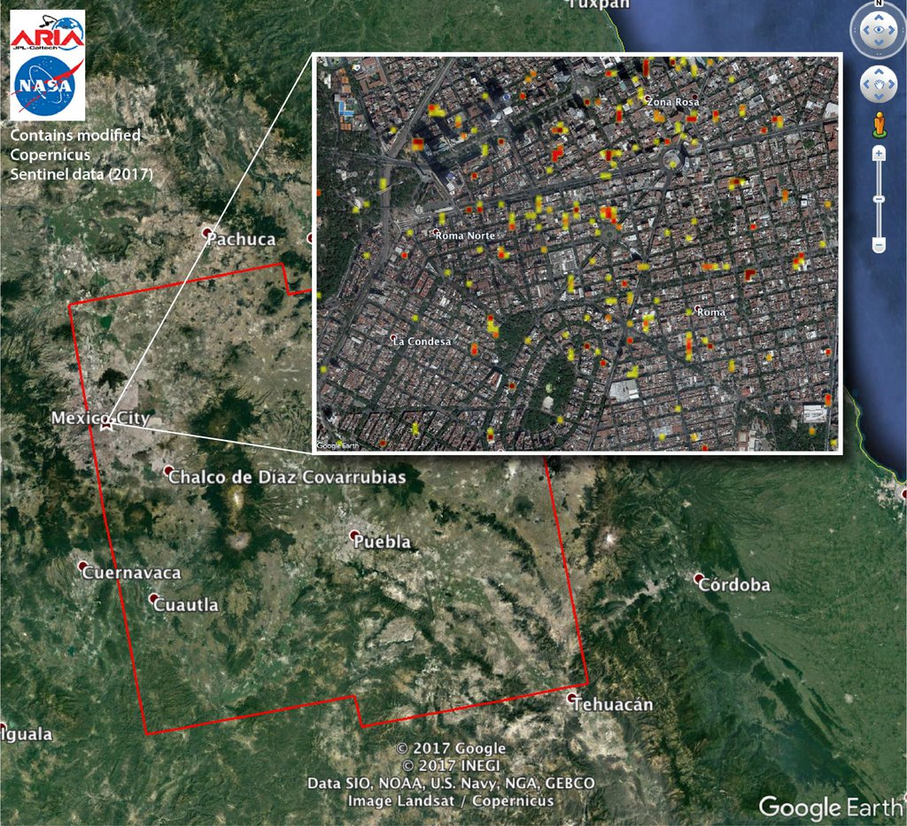 The ARIA team at NASA's JPL created this Damage Proxy Map (DPM) depicting areas of Central Mexico, including Mexico City, that are likely damaged (shown by red and yellow pixels) from the magnitude 7.1 Raboso earthquake of Sept. 19, 2017.