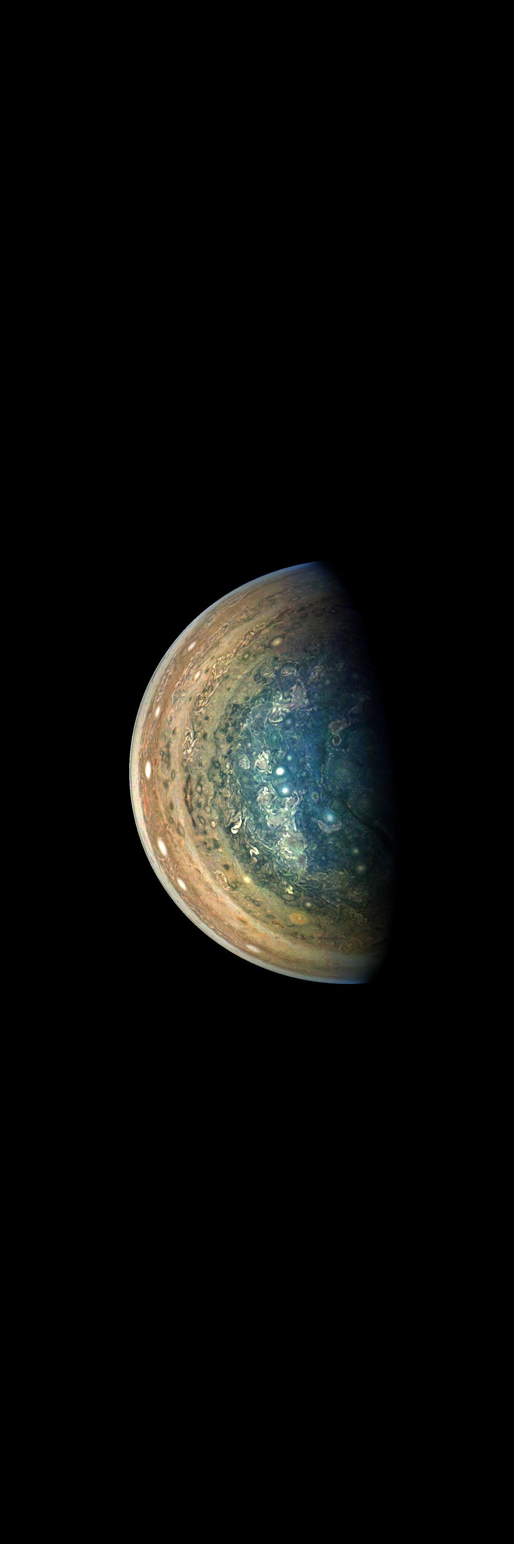 This image of Jupiter's swirling south polar region was captured by NASA's Juno spacecraft as it neared completion of its tenth close flyby of the gas giant planet.