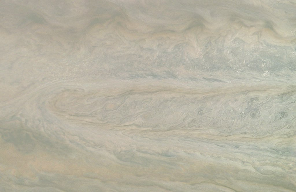 This image from NASA's Juno spacecraft is one of two taken 12 minutes apart which neatly captures storm movement in the southern hemisphere of Jupiter.