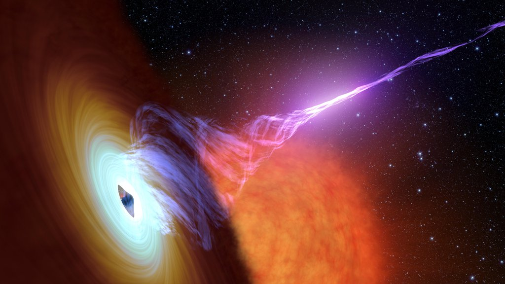 This artist's concept shows a black hole with an accretion disk -- a flat structure of material orbiting the black hole -- and a jet of hot gas, called plasma.