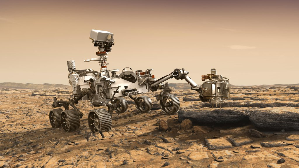 This artist's rendition depicts NASA's Mars 2020 rover studying a Mars rock outrcrop. Mars 2020 will use powerful instruments to investigate rocks on Mars down to the microscopic scale of variations in texture and composition.