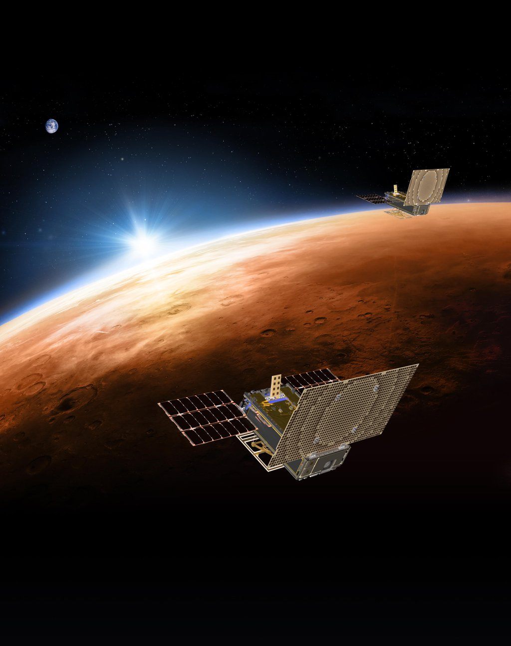 An artist's rendering of NASA's twin Mars Cube One (MarCO) spacecraft flying over Mars with Earth in the distance.