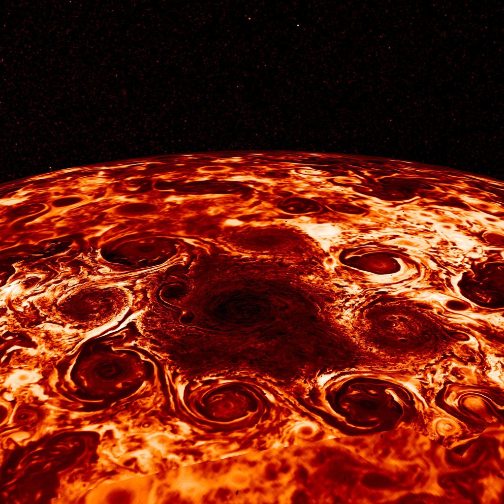 Data collected by the Jovian Infrared Auroral Mapper (JIRAM) instrument aboard NASA's Juno mission to Jupiter, shows the central cyclone at the planet's north pole and the eight cyclones that encircle it.
