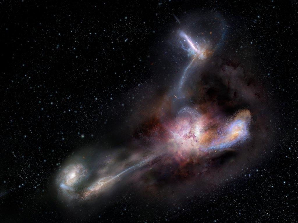 This artist's impression shows galaxy WISE J224607.55-052634.9, the most luminous galaxy ever discovered.