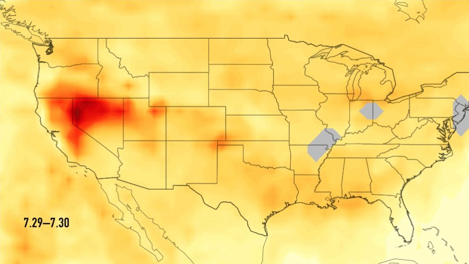 This image is one of a series showing carbon monoxide (in orange/red) from California's massive wildfires drifting east across the U.S. between July 30 and August 7, 2018.