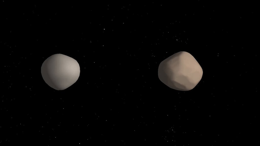 Artist's concept of what binary asteroid 2017 YE5 might look like. The two objects showed striking differences in radar reflectivity, which could indicate that they have different surface properties.
