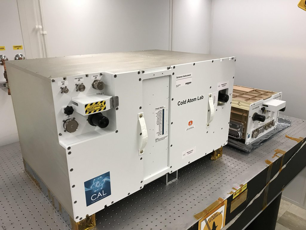 NASA's Cold Atom Laboratory consists of two standardized containers that will be installed on the International Space Station. The larger container is called a quad locker, and the smaller container is called a single locker.