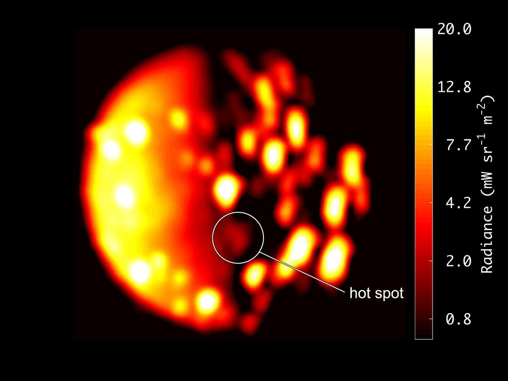 This annotated image highlights the location of the new heat source close to the south pole of Io. The image was generated from data collected on Dec. 16, 2017, by the JIRAM instrument aboard NASA's Juno NASA's Juno spacecraft on Dec. 16, 2017.