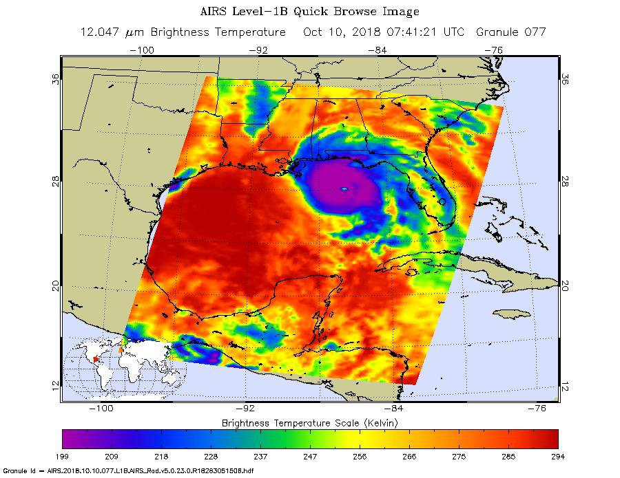 This image, taken on Oct. 10, 2018 by NASA's Aqua satellite shows the temperature of clouds or the surface in and around Hurricane Michael as it approaches northwestern Florida.
