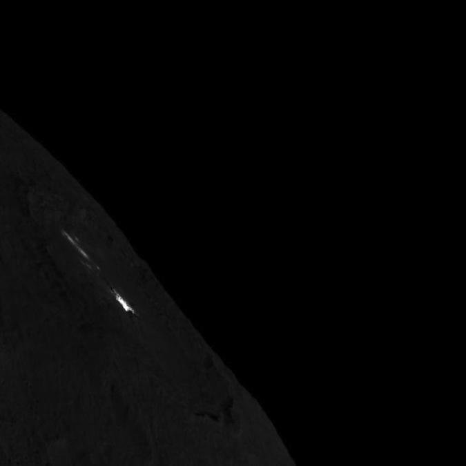 This image of Occator Crater on Ceres' limb -- short exposure -- was obtained by NASA's Dawn spacecraft on August 14, 2018 from an altitude of about 1149 miles (1849 kilometers).