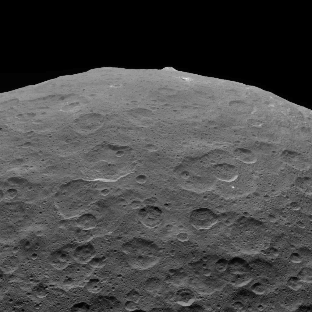 This image of Ceres and one of its key landmarks, Ahuna Mons, was one of the last views obtained by NASA's Dawn spacecraft on September 1, 2018 from an altitude of 2,220 miles (3,570 kilometers).