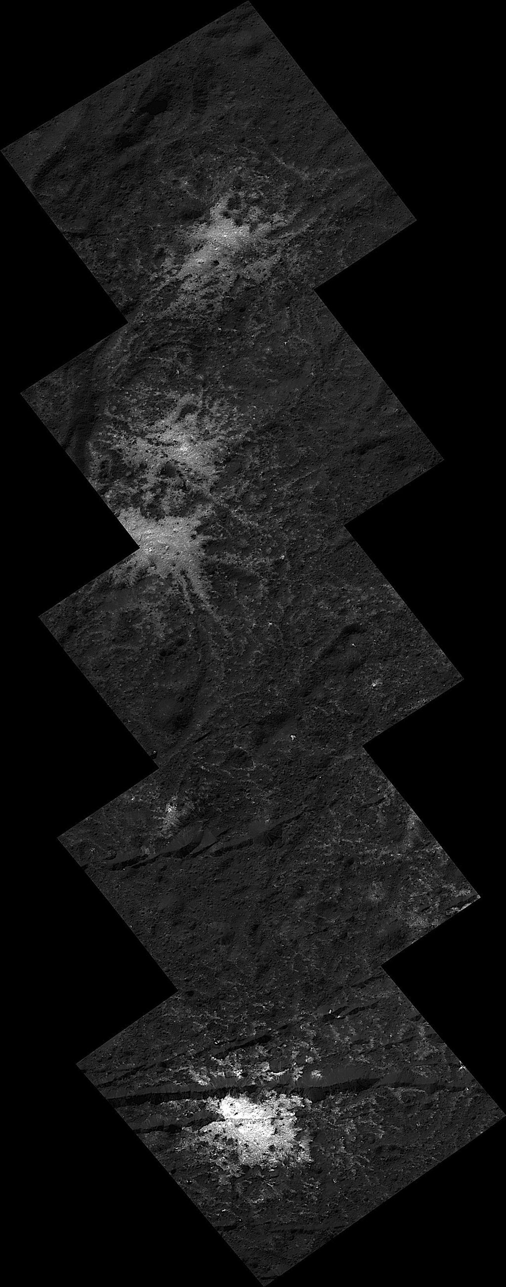 This image montage of 'stars' found on the floor of Ceres' Occator Crater was obtained by NASA's Dawn spacecraft in June, 2018 from an altitude of about 21 miles (34 kilometers).