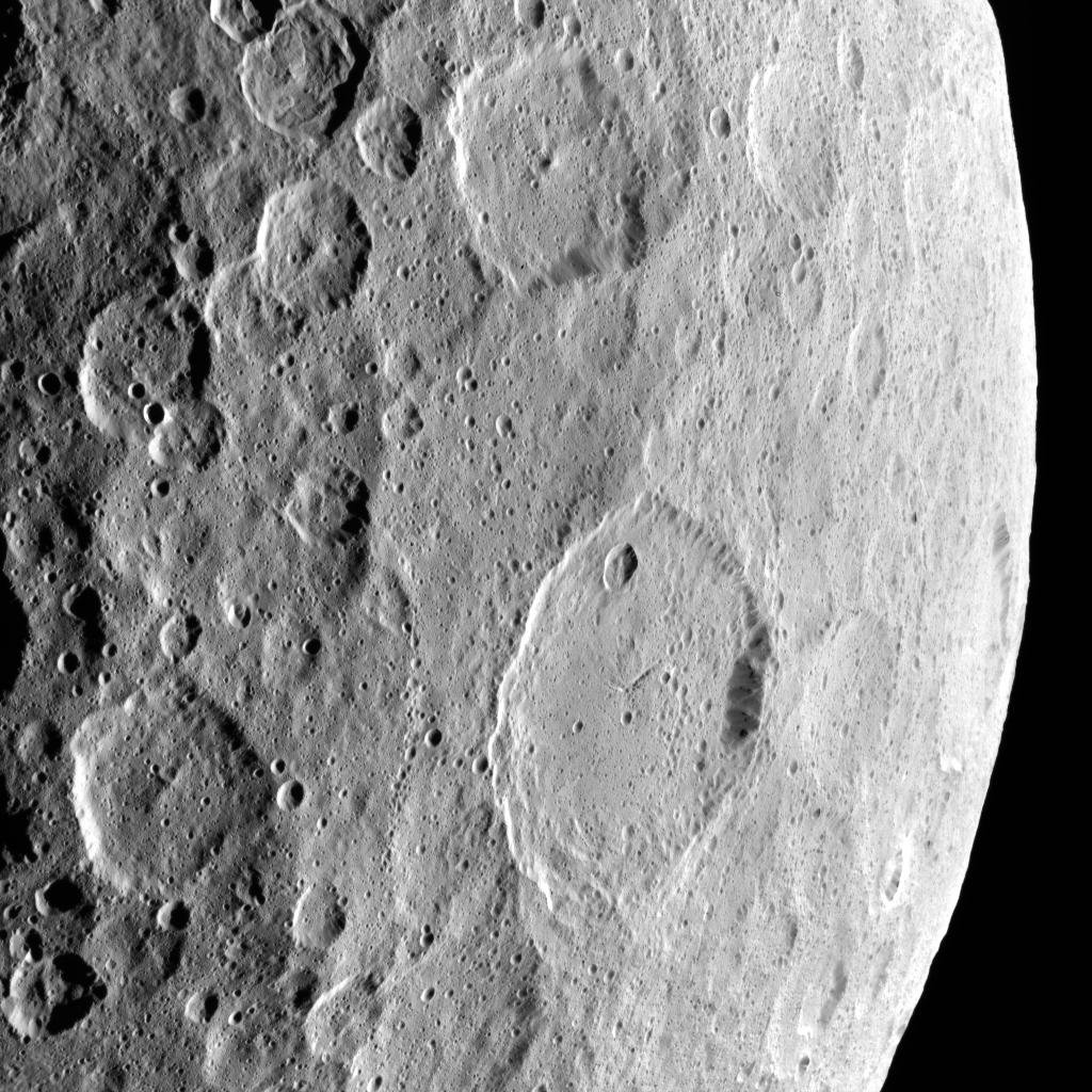 This image, highlighting the complex set of fractures near the center of the large Ezinu Crater on Ceres, was obtained by NASA's Dawn spacecraft on September 2, 2018 from an altitude of about 2095 miles (3070 kilometers).