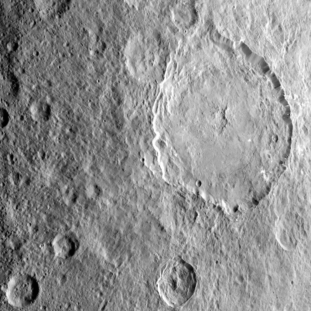 This image shows the complex central construct and concentric fractures in the large Dantu Crater on Ceres, as obtained by NASA's Dawn spacecraft on September 1, 2018 from an altitude of about 1335 miles (2150 kilometers).