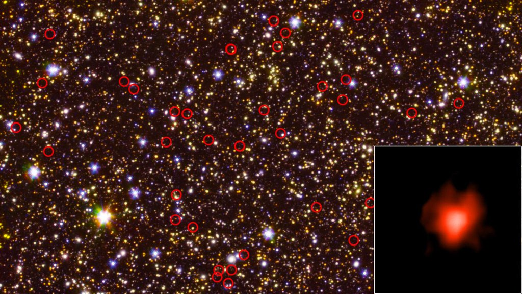 This deep-field view of the sky taken by NASA's Hubble and Spitzer space telescopes is dominated by galaxies.