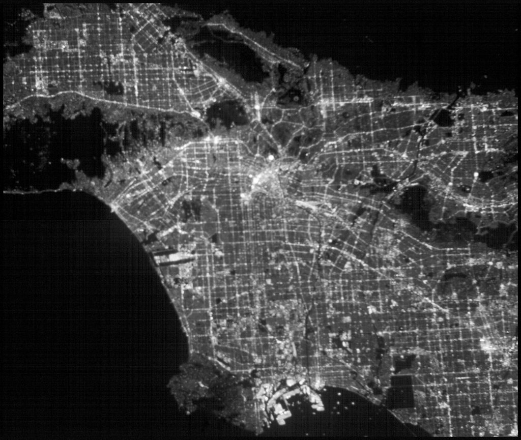 This image of the greater Los Angeles area was taken on March 29, 2019, by ASTERIA, the Arcsecond Space Telescope Enabling Research in Astrophysics satellite. It shows a region of about 43.5 square miles with a resolution of about 100 feet per pixel.