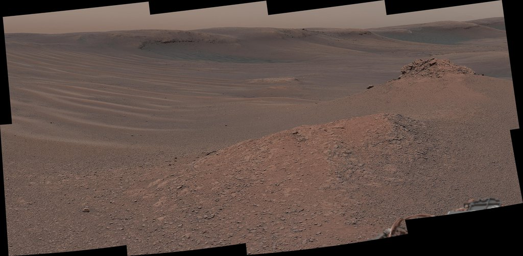 The Mast Camera (Mastcam) on NASA's Curiosity Mars rover captured this mosaic as it explored the clay-bearing unit on February 3, 2019 (Sol 2309).