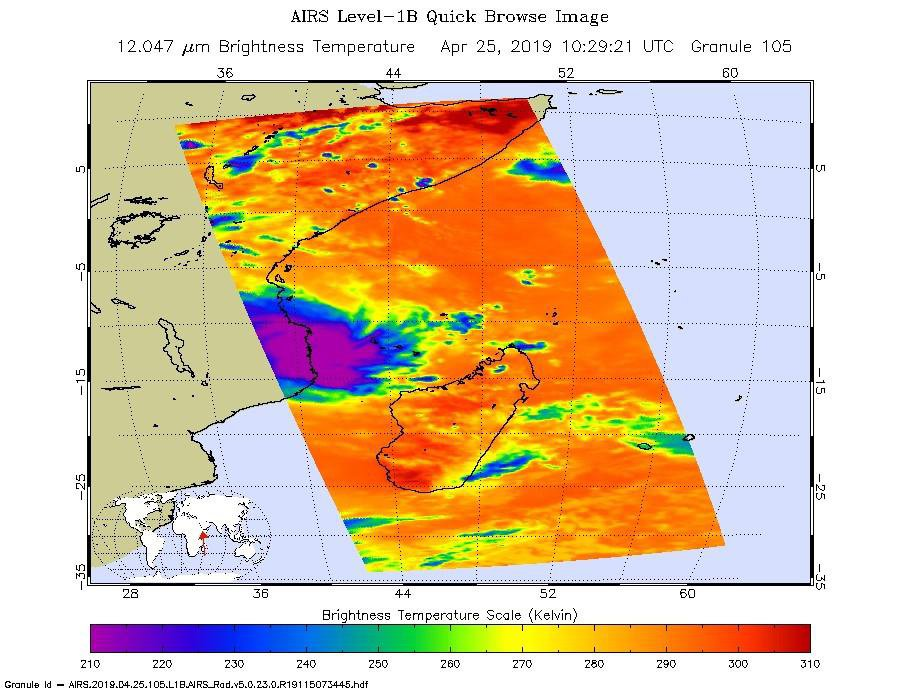 NASA's AIRS instrument shows the temperature of clouds or the surface in and around Tropical Cyclone Kenneth as it was about to make landfall in northern Mozambique on Thursday, April 25.