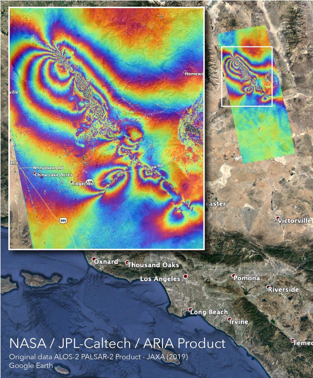 The ARIA team at NASA's Jet Propulsion Laboratory created this InSAR map that shows surface displacement caused by the recent major earthquakes in Southern California.