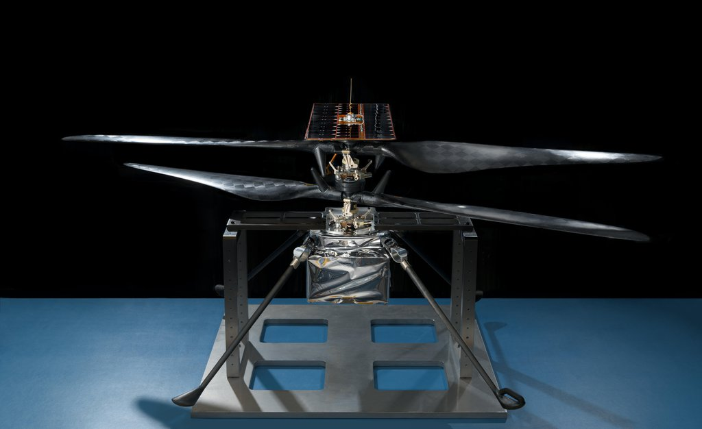 This image of the flight model of NASA's Mars Helicopter was taken on Feb. 14, 2019, in a cleanroom at NASA's Jet Propulsion Laboratory in Pasadena, California.
