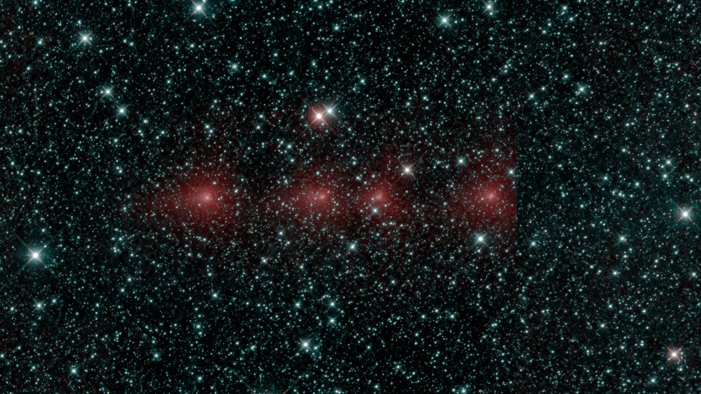 This image shows comet C/2018 Y1 Iwamoto as imaged in multiple exposures of infrared light by NASA's Near-Earth Object Wide-field Survey Explorer (NEOWISE) space telescope.