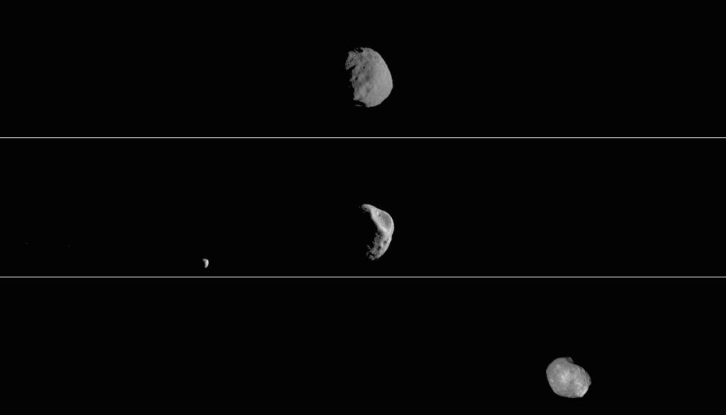 Each of the three panels is a series of images taken on different dates. Deimos, Mars' other moon, can also be seen in the second panel.