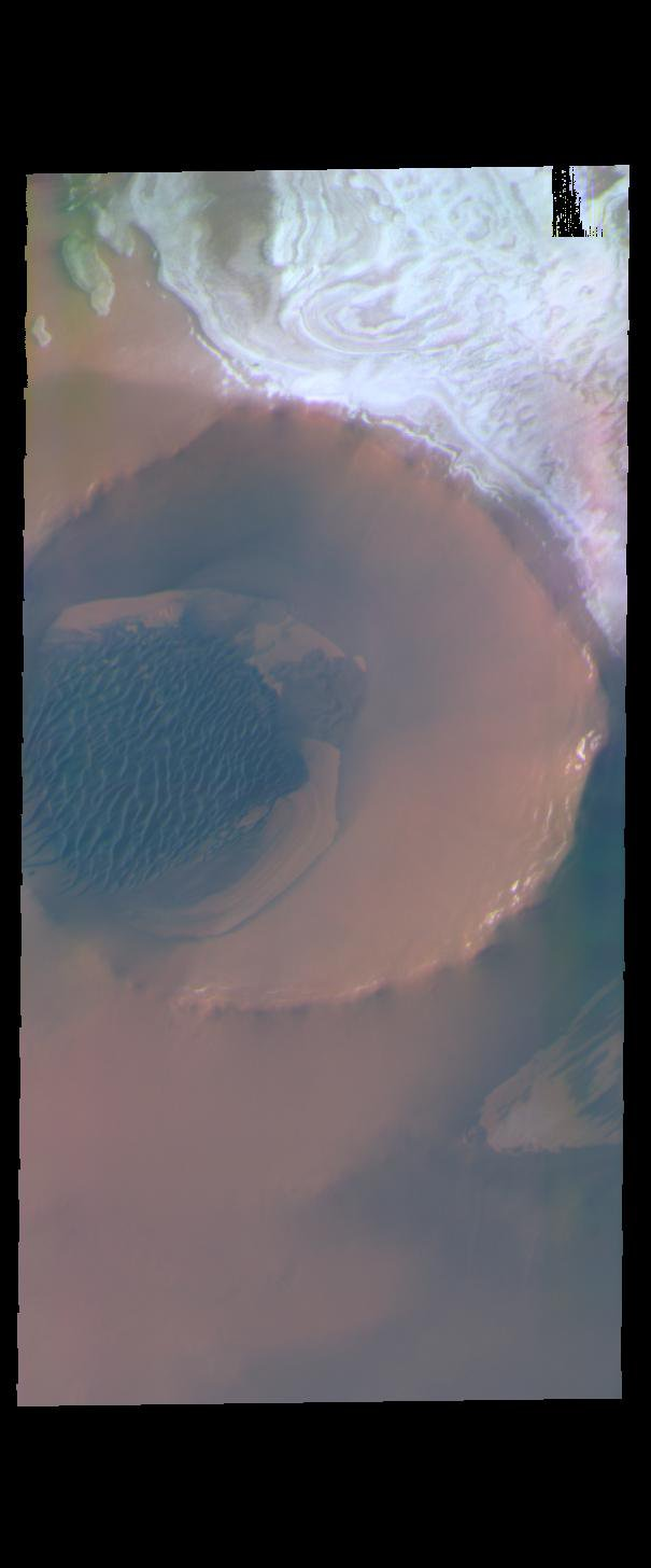 This image from NASA's Mars Odyssey shows Inuvik Crater, located near the north polar cap.