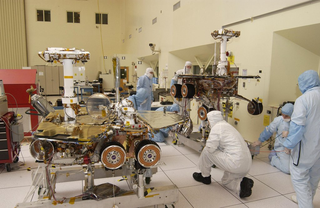 High Bay 1 looks much as it does today in this photo of NASA's Spirit and Opportunity Mars rovers being tested on Feb. 10, 2003.