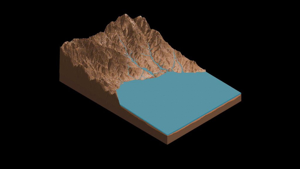 This animation demonstrates the salty ponds and streams that scientists think may have been left behind as Gale Crater dried out over time.