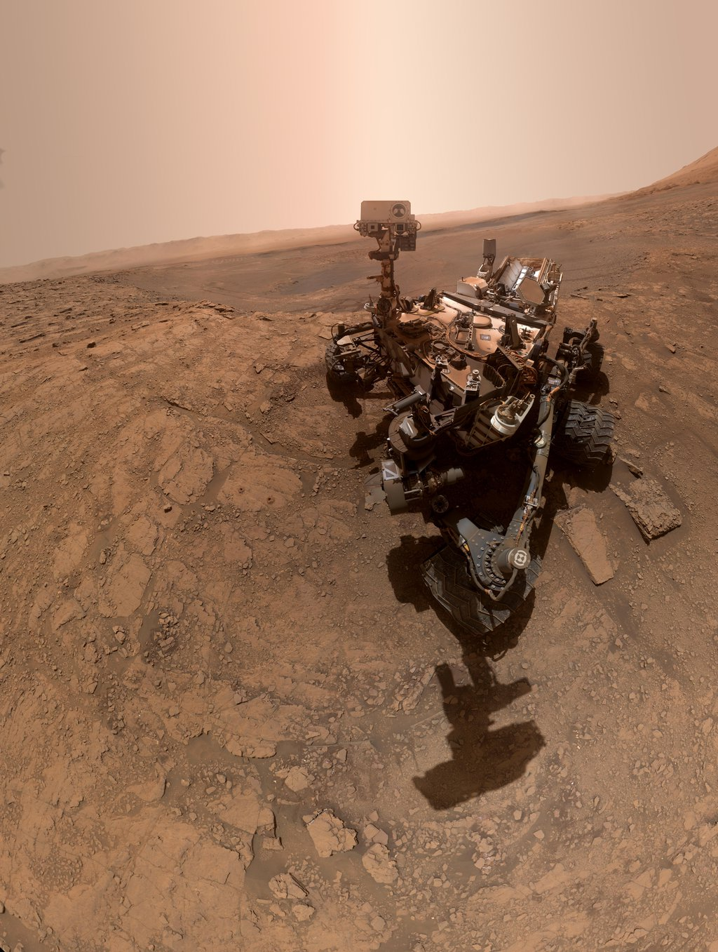 NASA's Curiosity rover took this selfie on Oct. 11, 2019, the 2,553rd Martian day, or sol, of its mission. The rover drilled twice in this location, which is nicknamed Glen Etive.