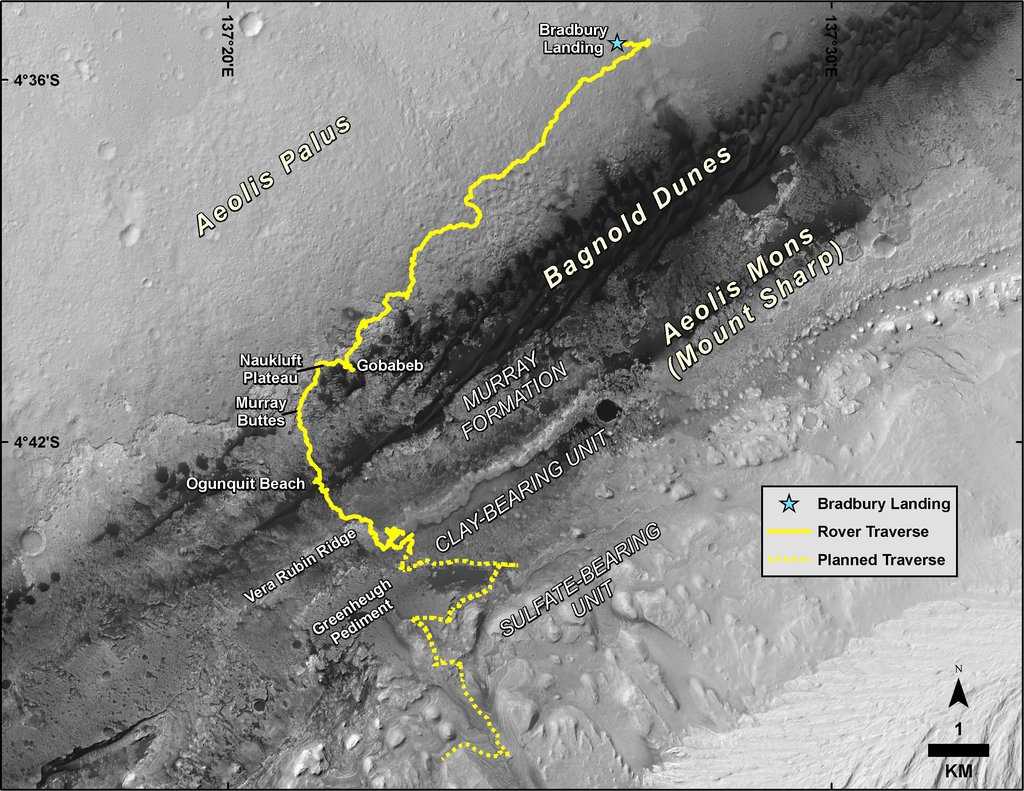 This map shows the route driven by NASA's Curiosity Mars rover, from the location where it landed in August 2012 to its location in August 2019.