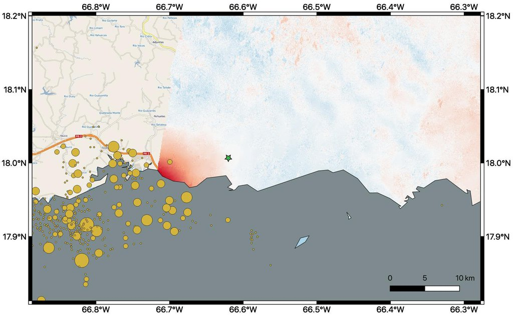 This map shows ground changes, or displacement, on the eastern two-thirds of Puerto Rico following a 6.4-magnitude earthquake.