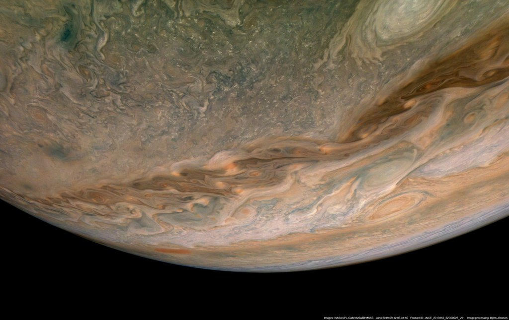 In this view of Jupiter, NASA's Juno spacecraft captures swirling clouds in the region of the giant planet's northern hemisphere known as Jet N4.