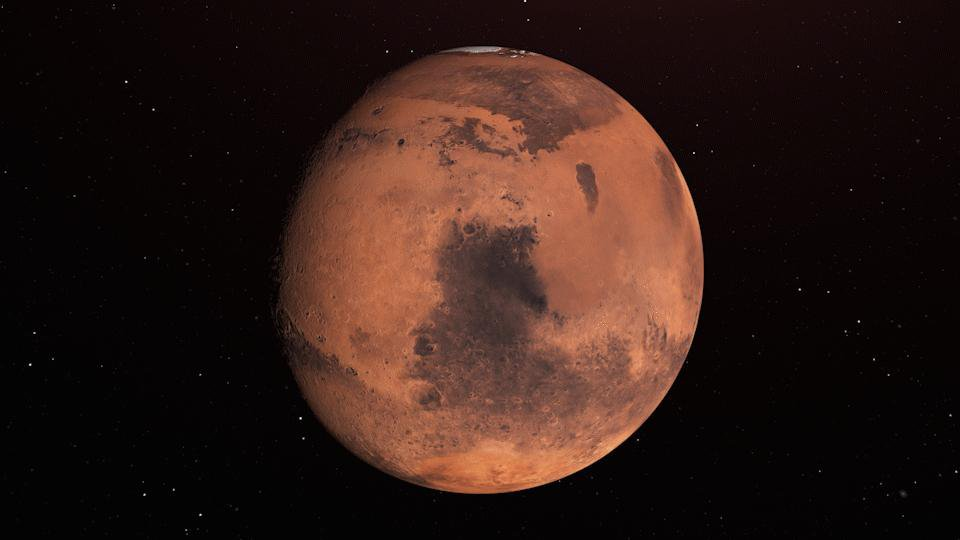 In this illustration, Mars holds near-surface water ice that would be easily accessible for astronauts to dig up. The water ice was identified as part of a map using data from NASA orbiters.