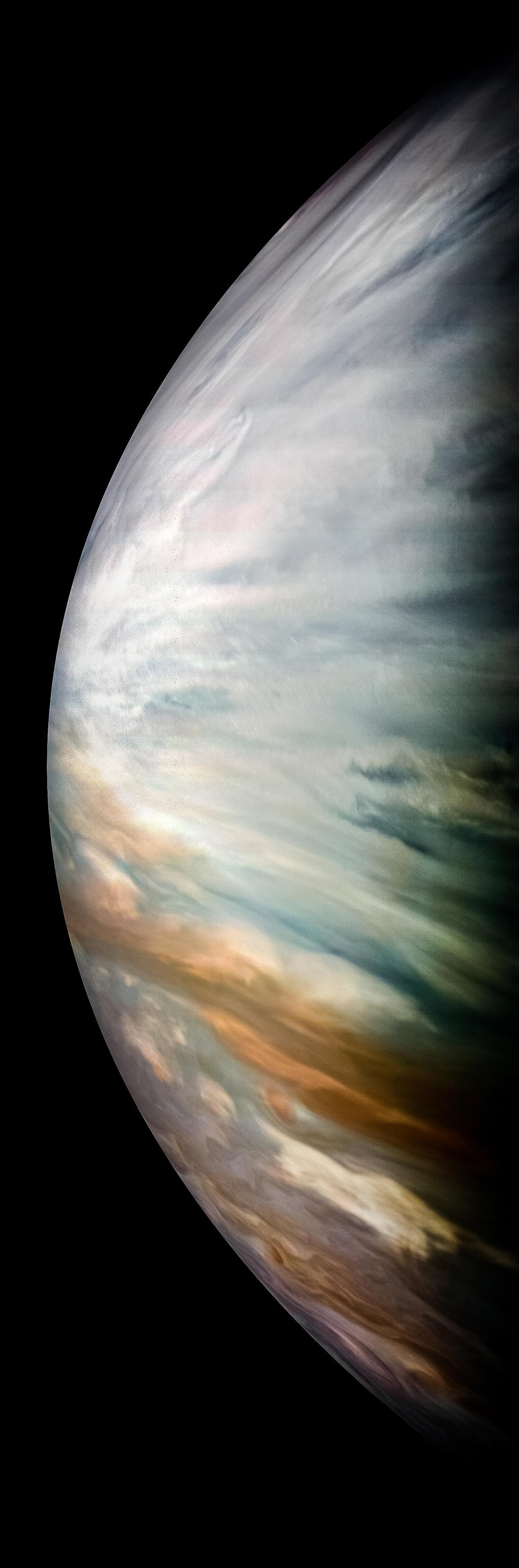 Thick white clouds are present in this JunoCam image of Jupiter's equatorial zone, taken by NASA's Juno Spacecraft.