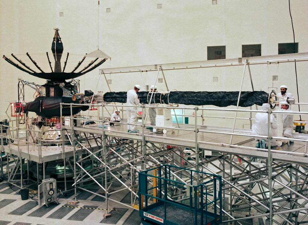 This photo from Nov. 1, 1984 shows JPL's Spacecraft Assembly Facility during the time the Galileo orbiter was being built.