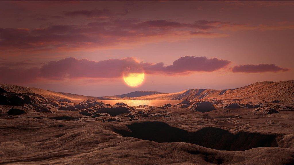 This artist's concept shows exoplanet Kepler-1649c orbiting around its host red dwarf star.