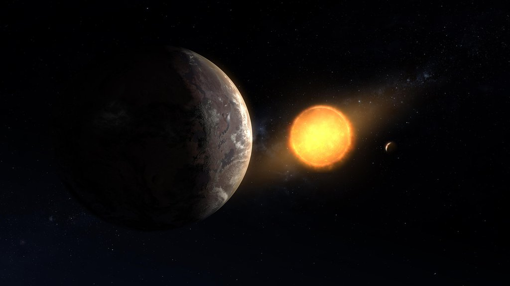 This artist's concept shows what exoplanet Kepler-1649c could look like on its surface.