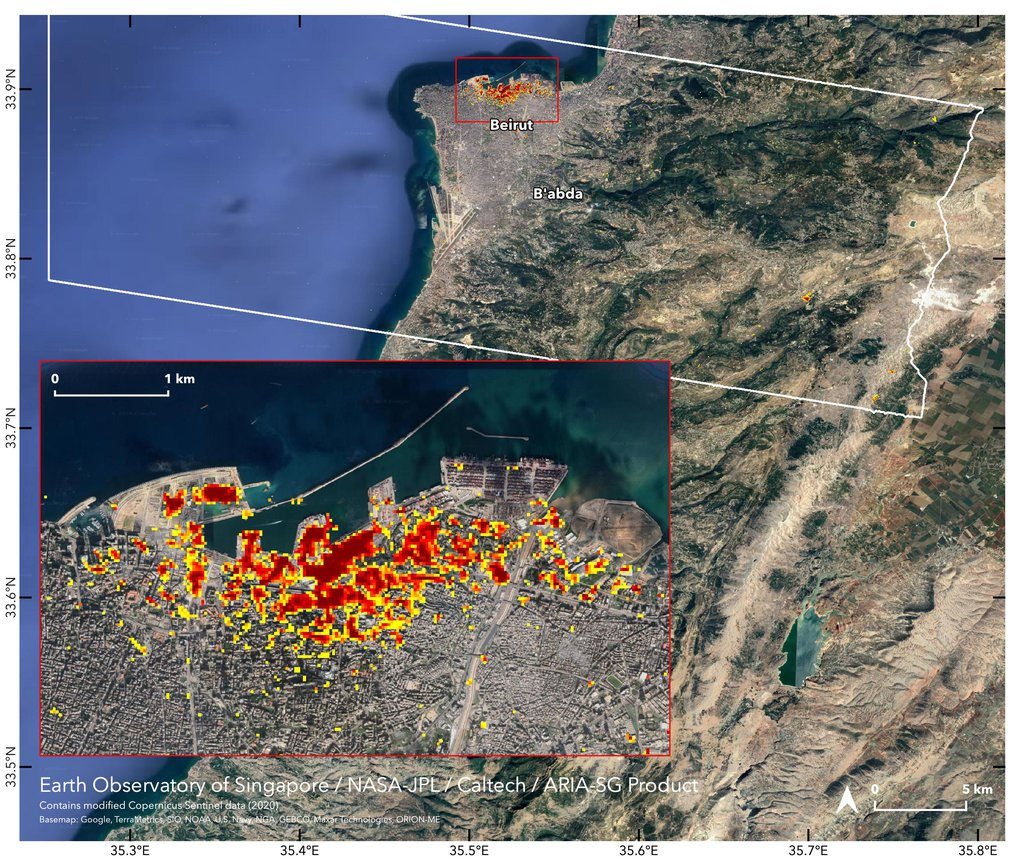 NASA's ARIA team, in collaboration with the Earth Observatory of Singapore, used satellite data to map the extent of likely damage following a massive explosion in Beirut.