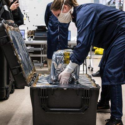 Engineers at NASA's Jet Propulsion Laboratory in Southern California prepare to ship a prototype ventilator