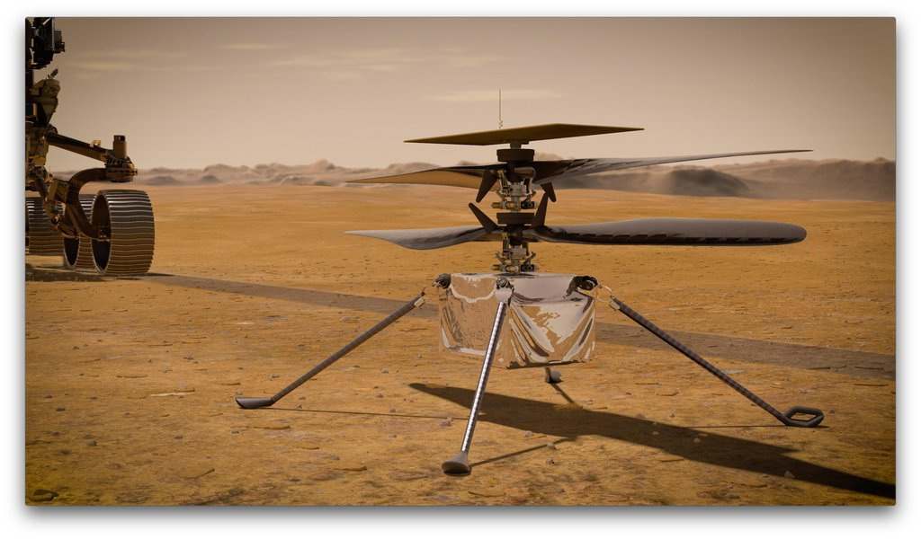 In this illustration, NASA's Ingenuity Mars Helicopter stands on the Red Planet's surface as NASA's Perseverance rover (partially visible on the left) rolls away.