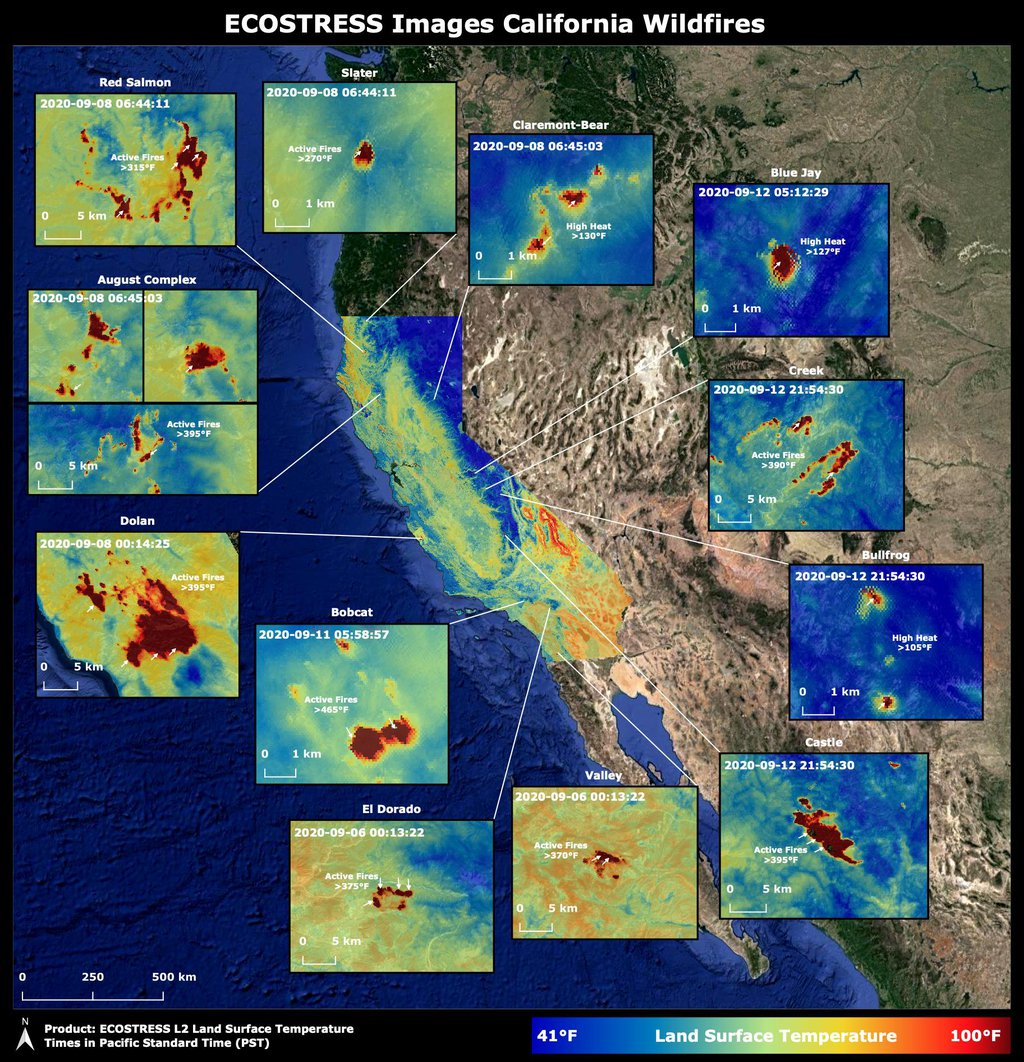 Throughout the month of September 2020, NASA's ECOsystem Spaceborne Thermal Radiometer Experiment on Space Station (ECOSTRESS) imaged multiple wildfires across the state of California.