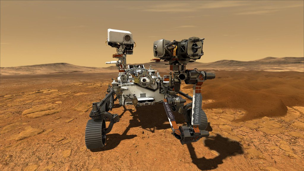 This illustration depicts NASA's Perseverance rover operating on the surface of Mars.