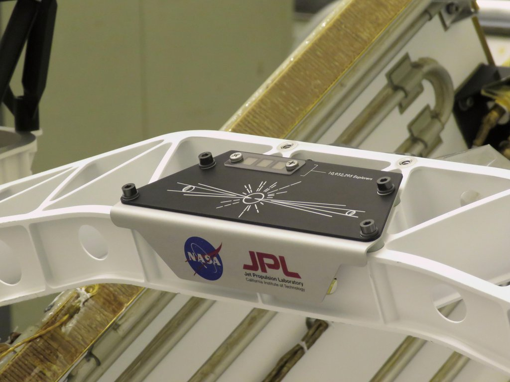 A placard commemorating NASA's Send Your Name to Mars campaign was installed on the Perseverance Mars rover on March 16, 2020, at Kennedy Space Center.