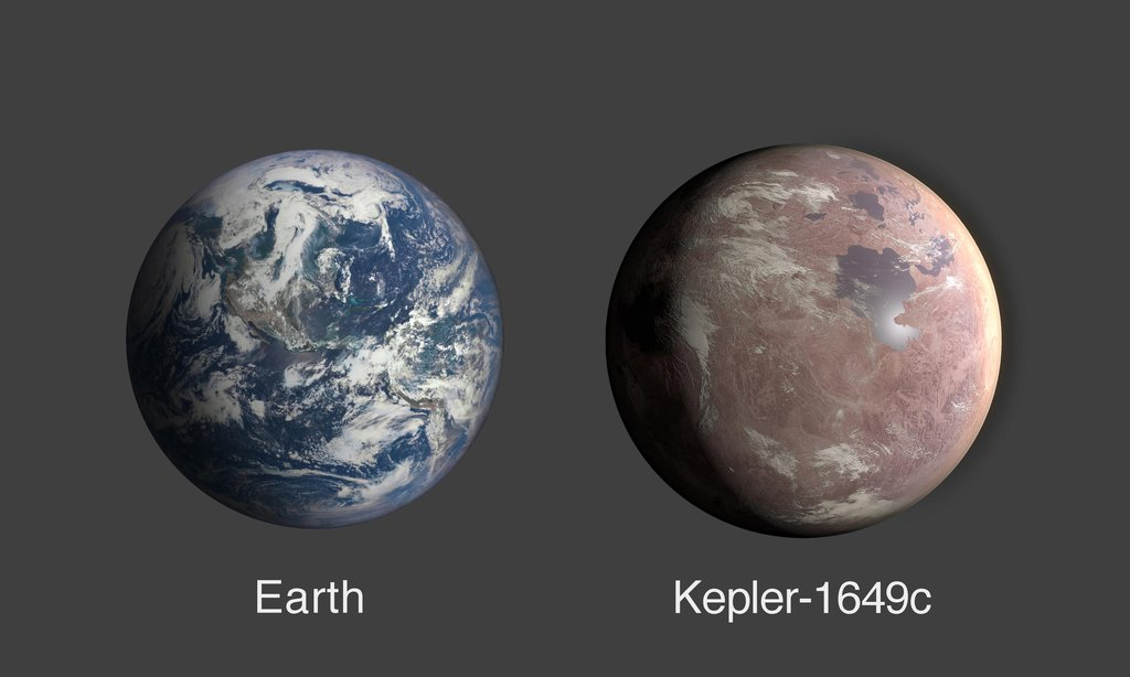 This graphic compares the size of Earth and Kepler-1649c, an exoplanet only 1.06 times larger than Earth by radius.